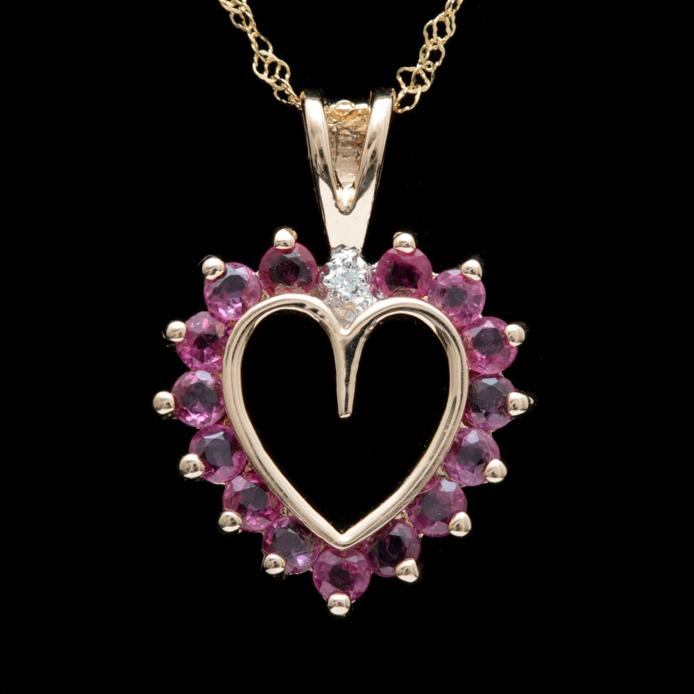 14K Yellow Gold, Ruby and Diamond Open Heart Pendant with Chain