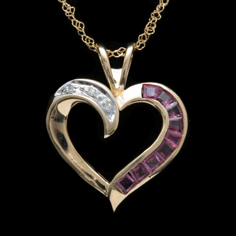 14K Two-Tone Gold, Ruby and Diamond Open Heart Pendant with Chain