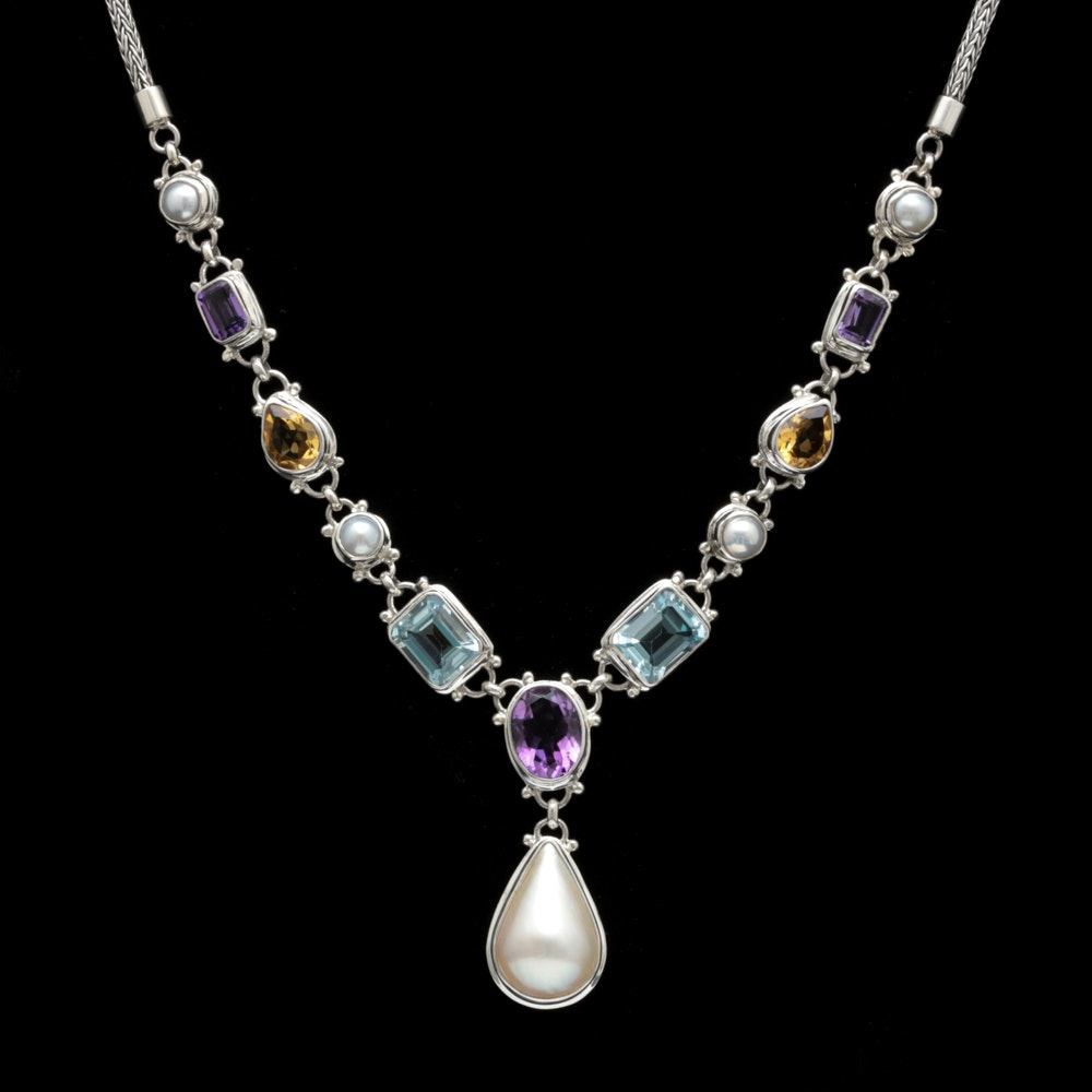 Sterling Silver, Mabé Pearl and Multi-Gemstone Necklace