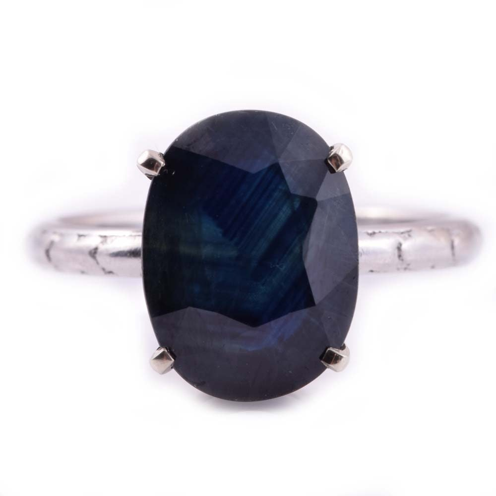 Platinum and 7.16 CT Sapphire Ring