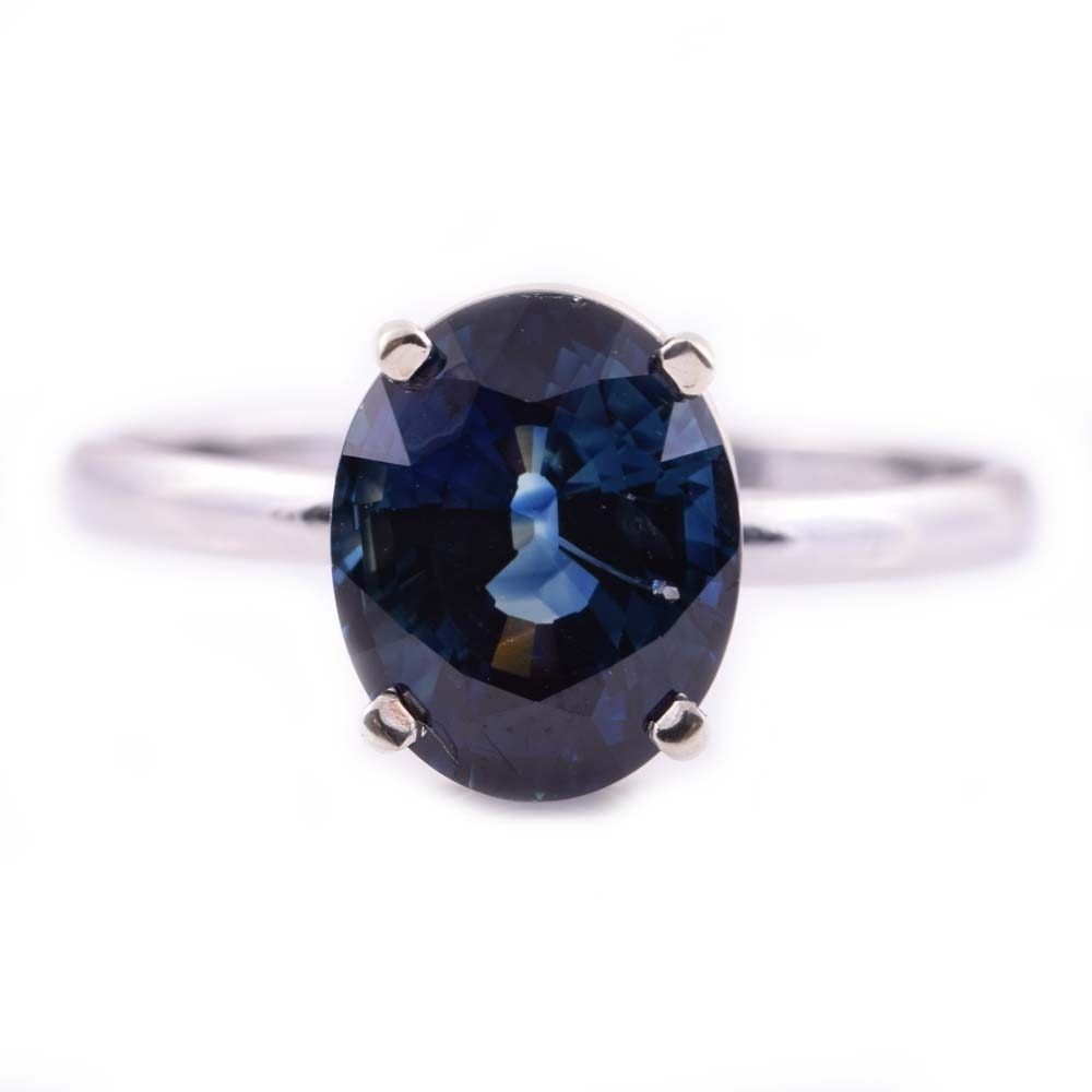 Platinum and 4.09 CT Sapphire Ring