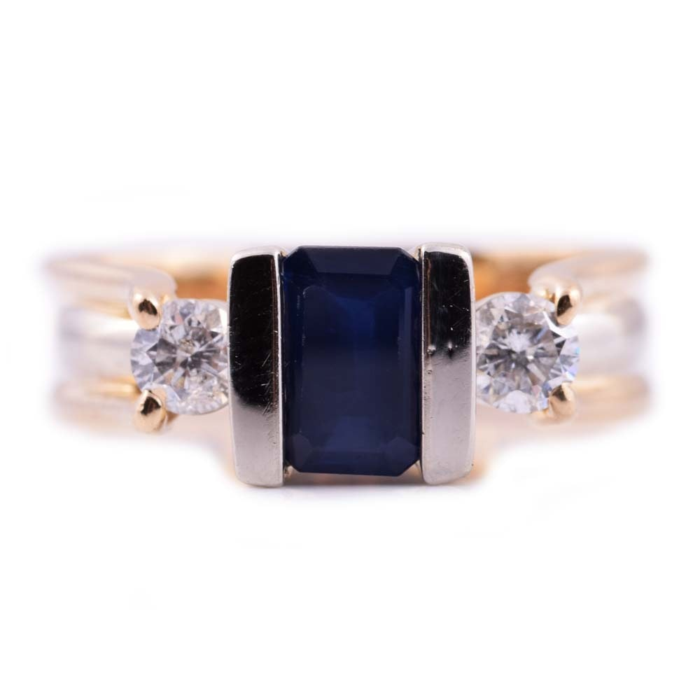 EFFY 14K Yellow Gold, Sapphire and Diamond Ring