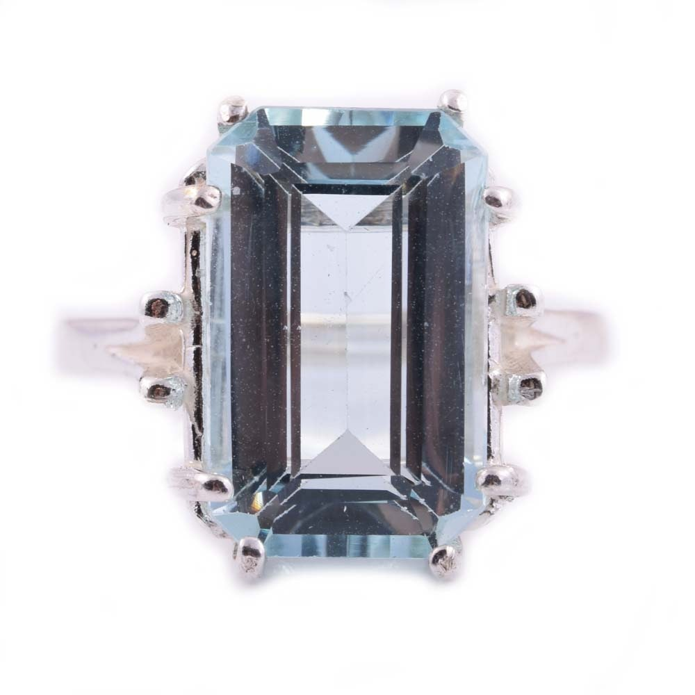 Sterling Silver and 6.50 CT Aquamarine Cocktail Ring
