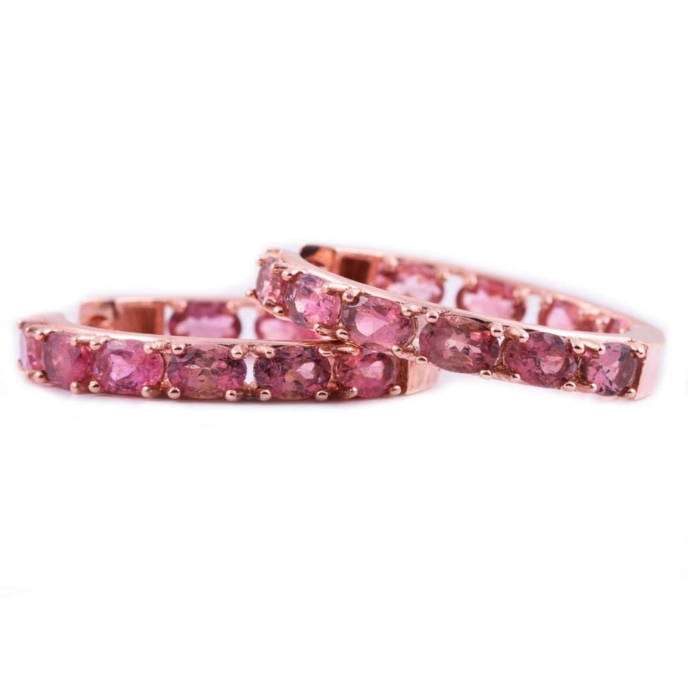 Rose Gold Wash on Sterling Silver and 10.00 CTW Pink Tourmaline Hoop Earrings