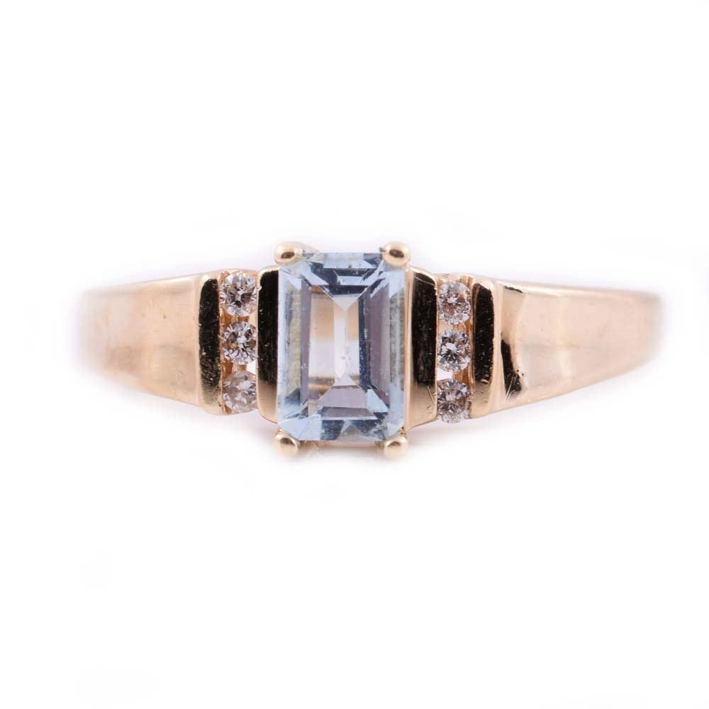 10K Yellow Gold, Aquamarine, and Diamond Ring