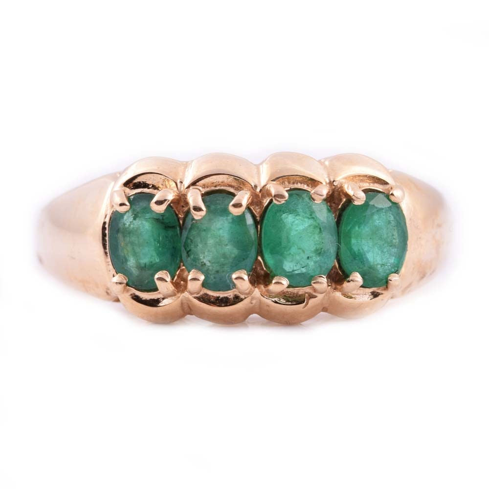 14K Yellow Gold and Emerald Ring