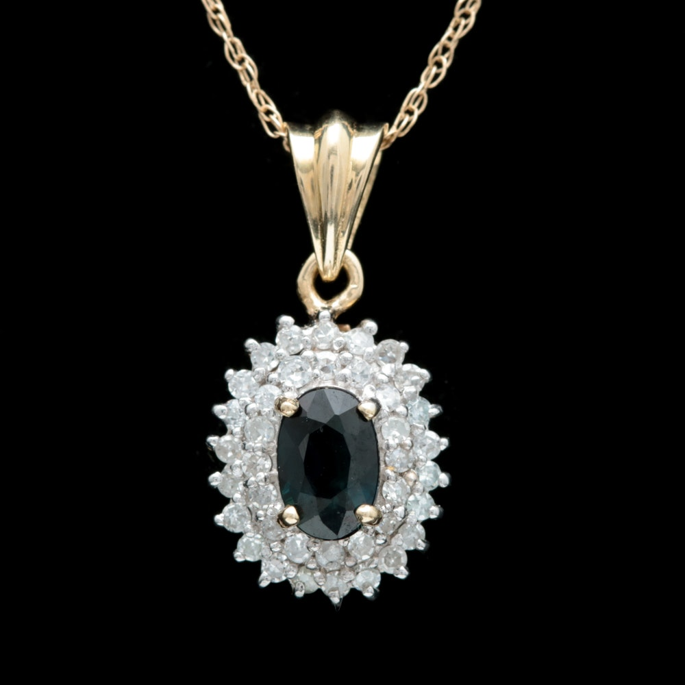 10K Yellow Gold, Blue Sapphire and Diamond Pendant with Chain
