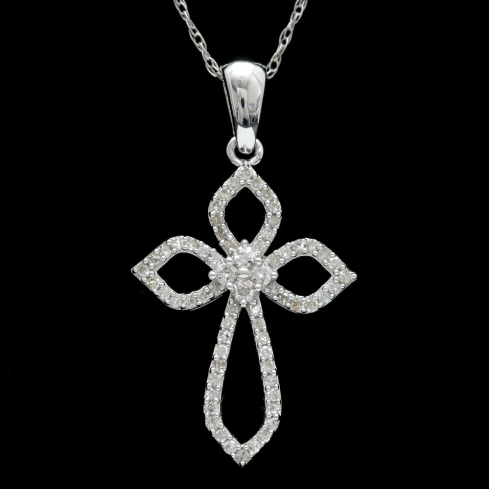 10K White Gold and Diamond Openwork Cross Pendant with Chain