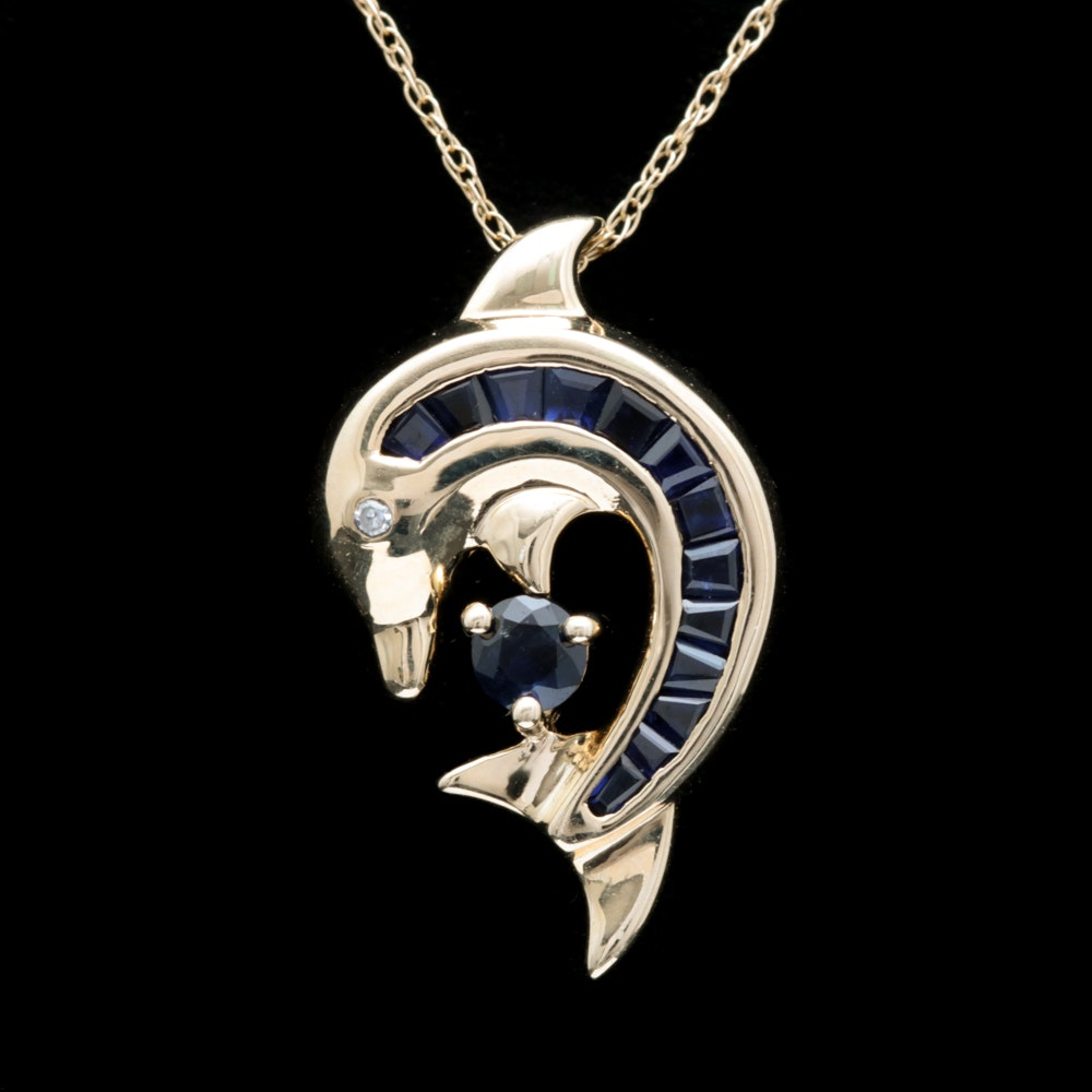 10K Yellow Gold, Blue Sapphire and Diamond Dolphin Pendant with Chain