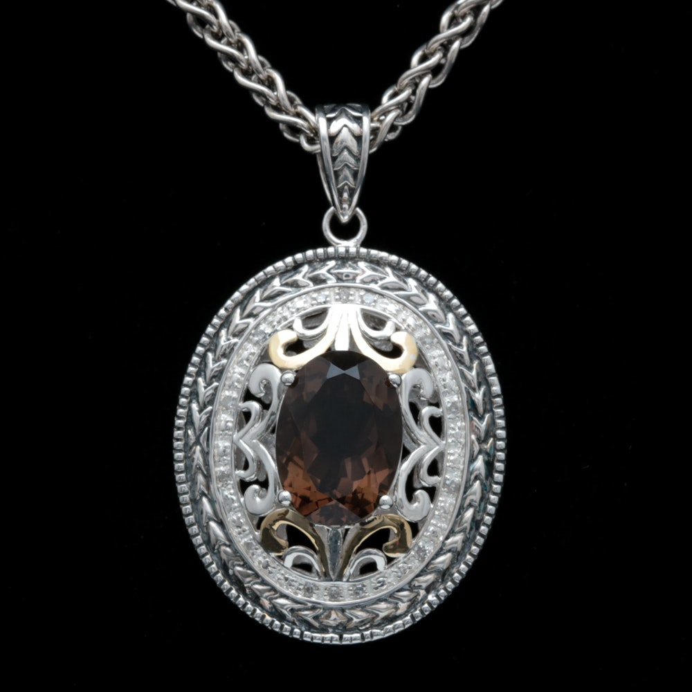 Sterling Silver, 14K Yellow Gold, Smoky Quartz and Diamond Pendant with Chain