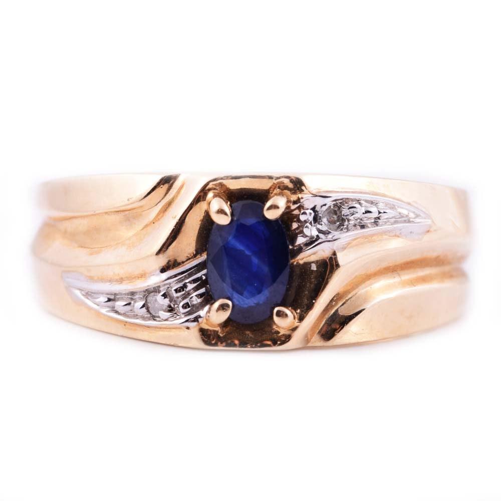 10K Yellow Gold, Sapphire, and Diamond Ring