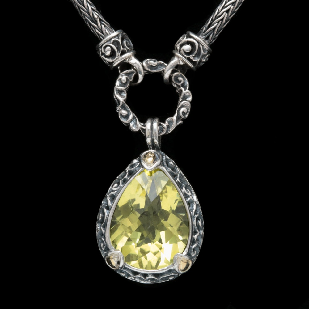 Robert Manse Sterling Silver, 18K Yellow Gold and Lemon Quartz Necklace