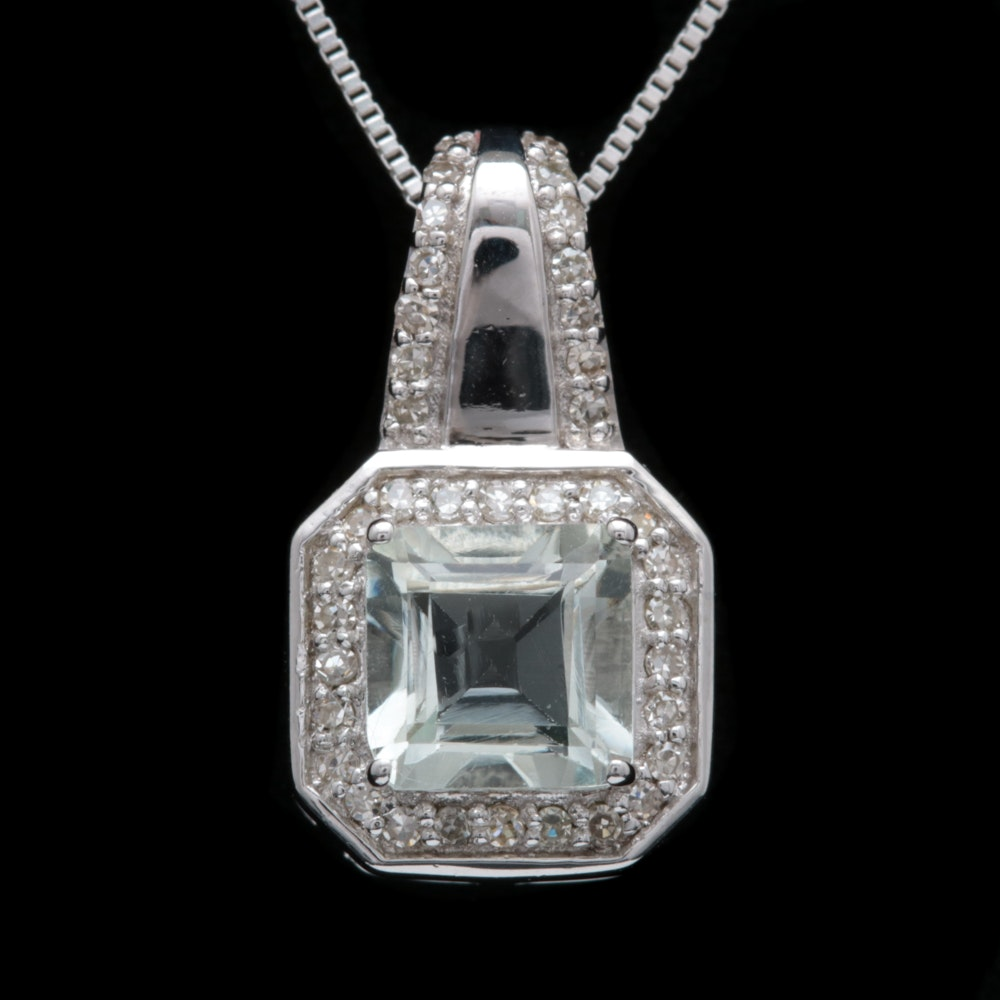Sterling Silver, Green Amethyst and Diamond Pendant with Chain