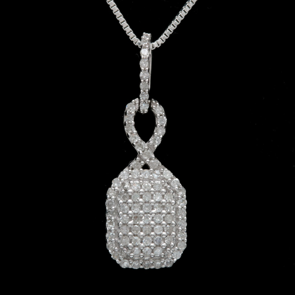Sterling Silver and Diamond Pendant with Chain