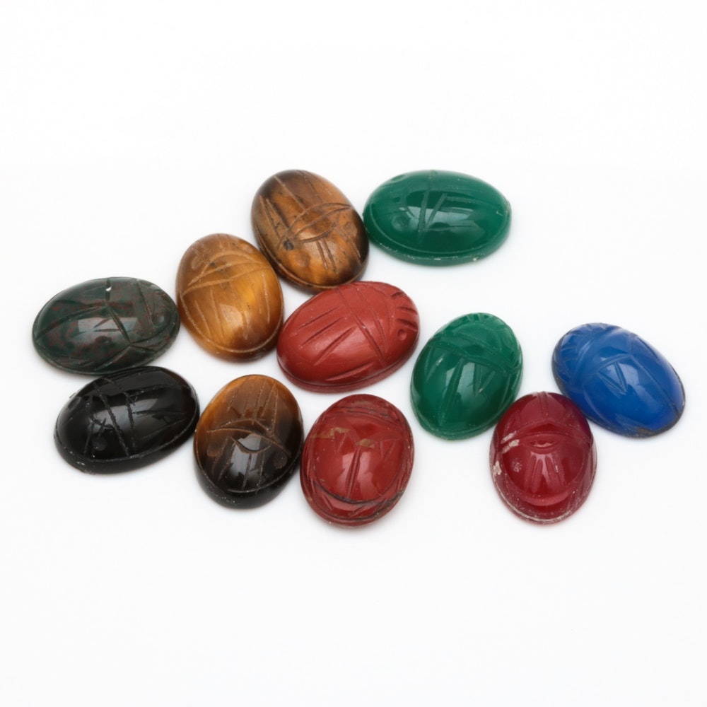 57.55 CTW Loose Carved Scarab Multi-Gemstones
