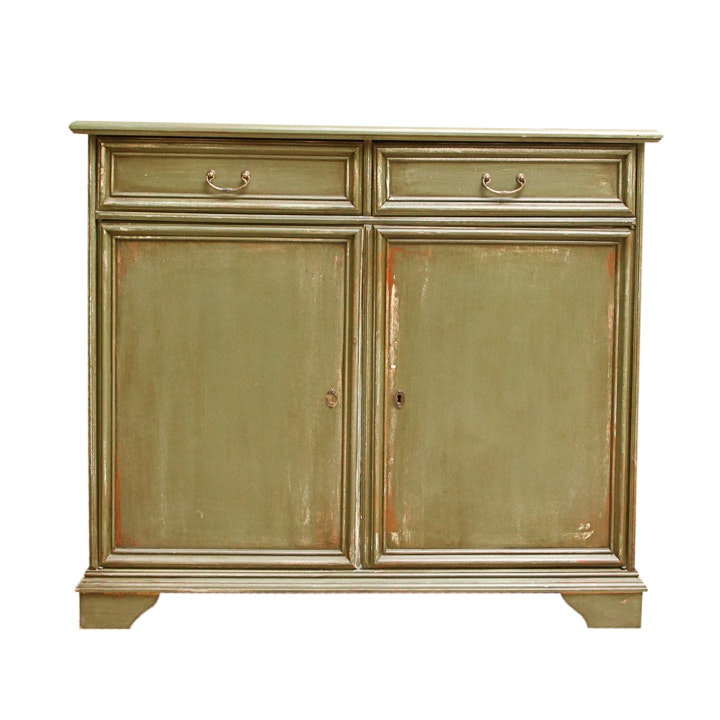 Distressed Green-Painted Sideboard