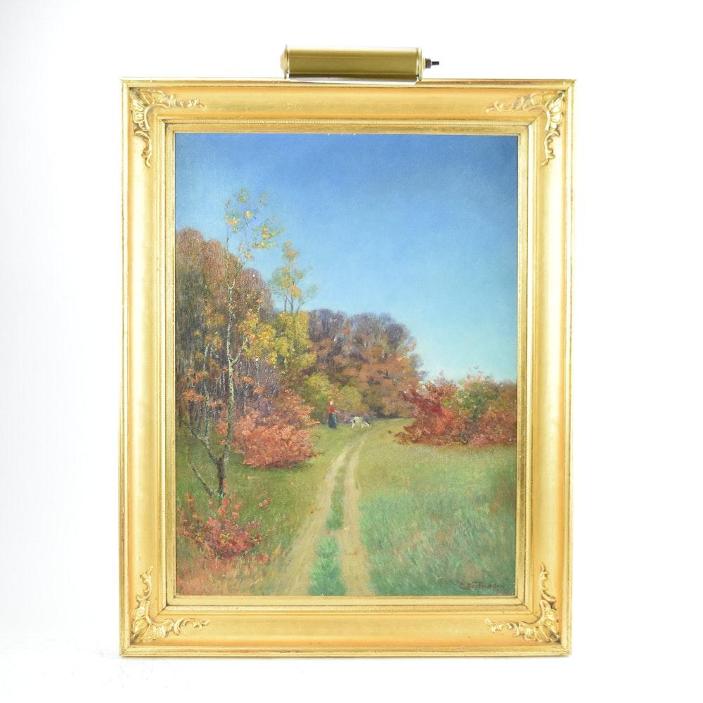 Elisabeth Neckelmann 1900 Oil Landscape Painting on Canvas