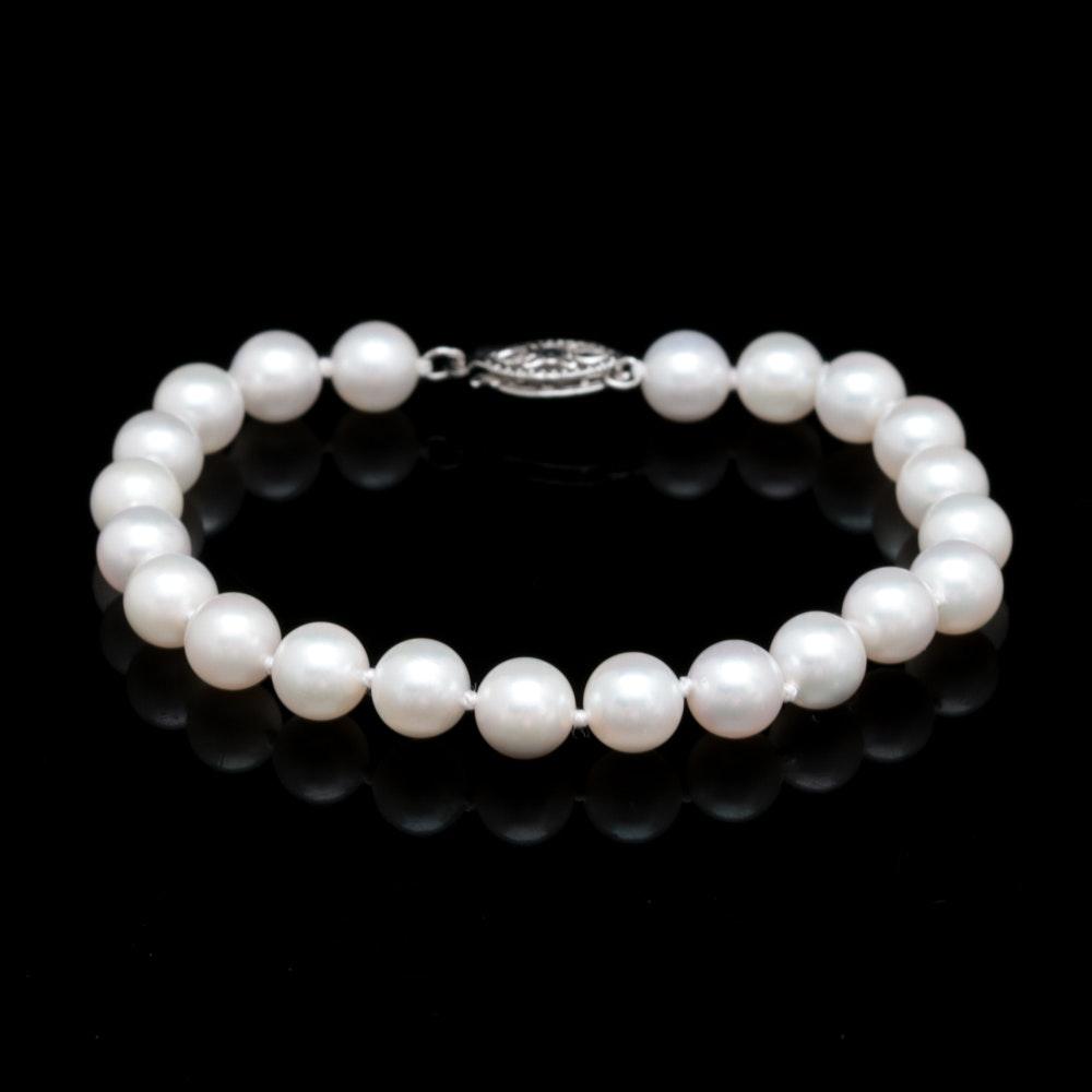 14K White Gold and Akoya Pearl Bracelet