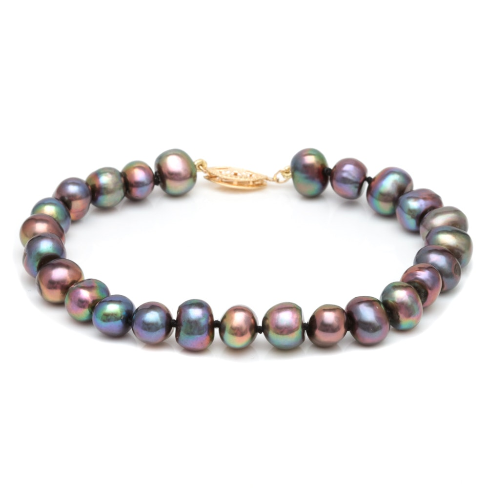 14K Yellow Gold and Black Freshwater Pearl Bracelet