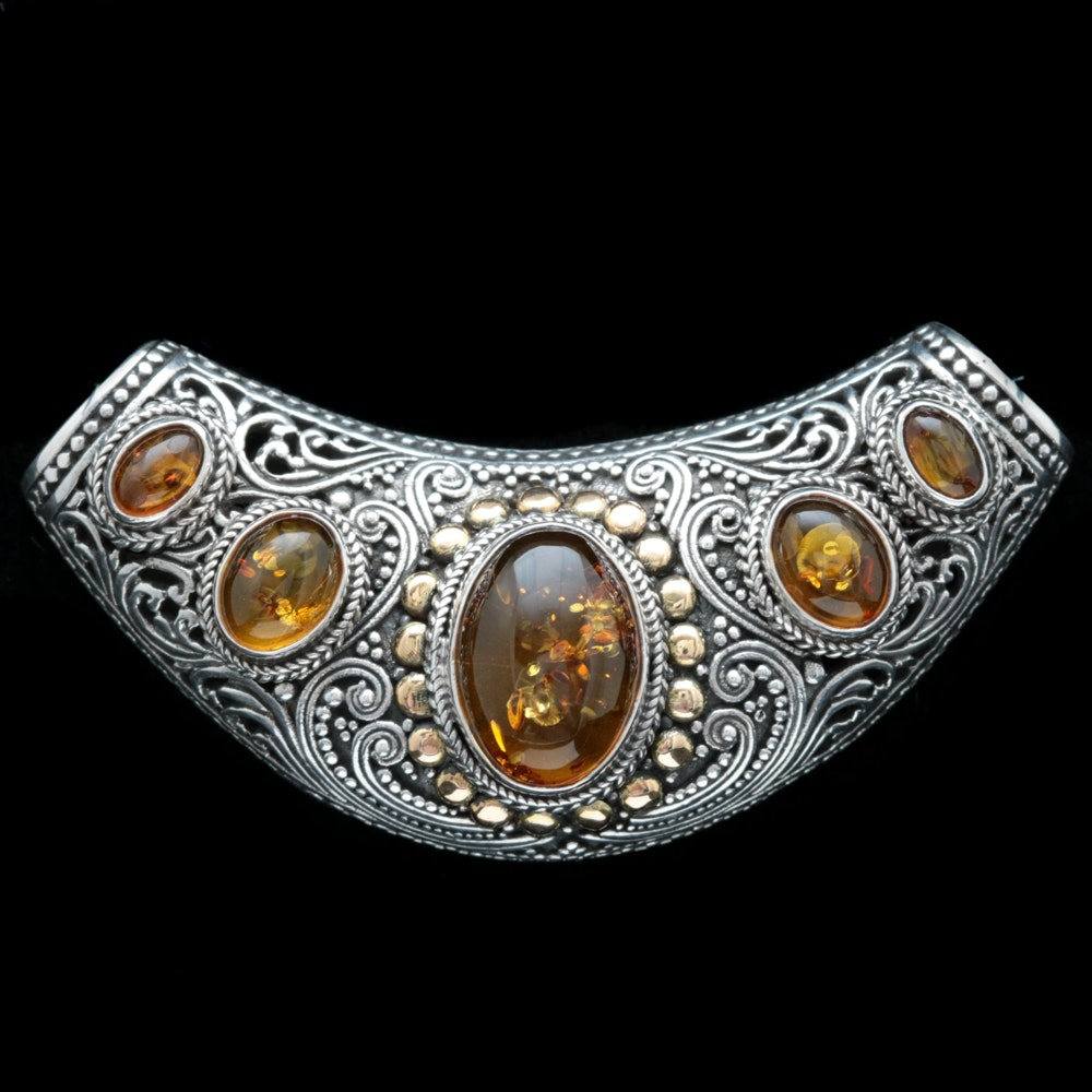 Robert Manse Sterling Silver, 18K Yellow Gold and Amber Slide Pendant