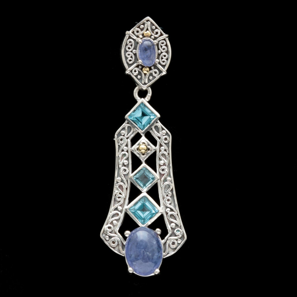 Robert Manse Sterling Silver, 18K Yellow Gold, Tanzanite and Blue Topaz Pendant