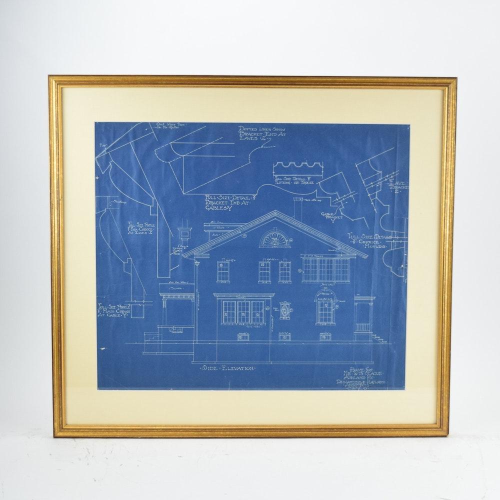 "Dejardins & Hayward Architects Blueprint ""House  for Mr. W.B. Seaton"""