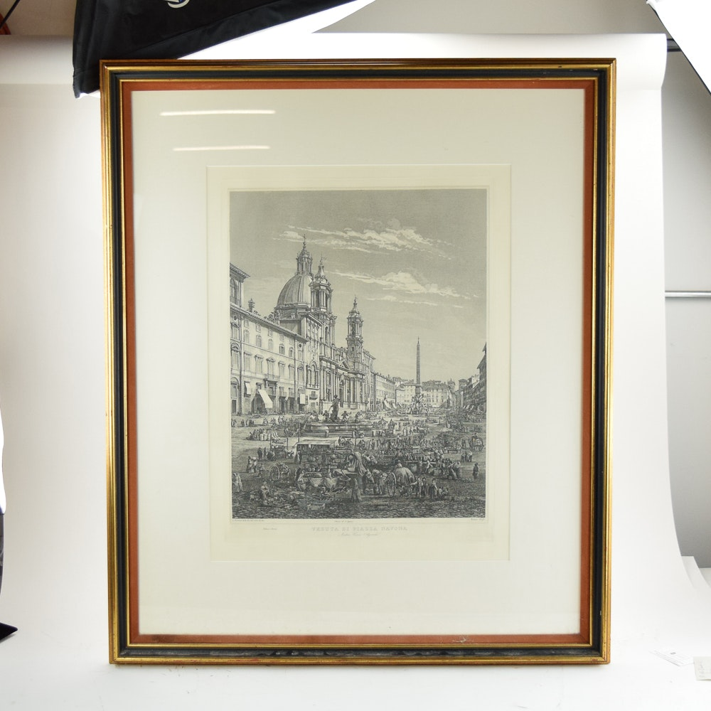 "L. Rossini Engraving ""Veduta di Piazza Novona"""