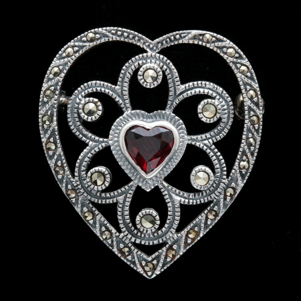 Sterling Silver, Garnet and Marcasite Heart Pin