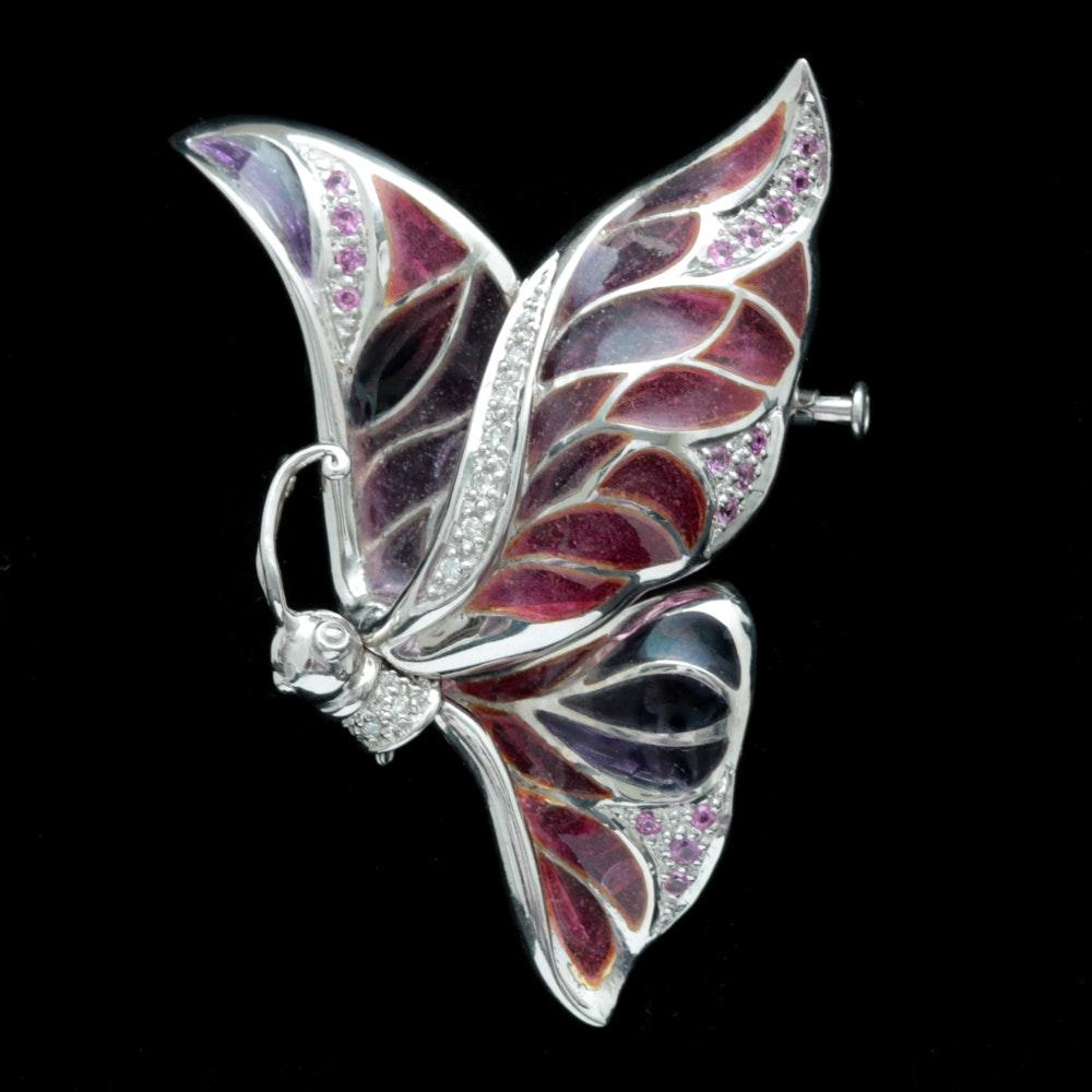 Sterling Silver, Diamond, Pink Sapphire and Enamel Butterfly Brooch