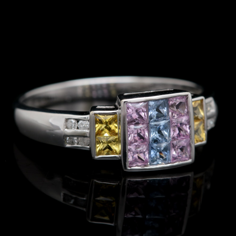 10K White Gold, 1.00 CTW Blue, Pink and Yellow Sapphire and Diamond Ring