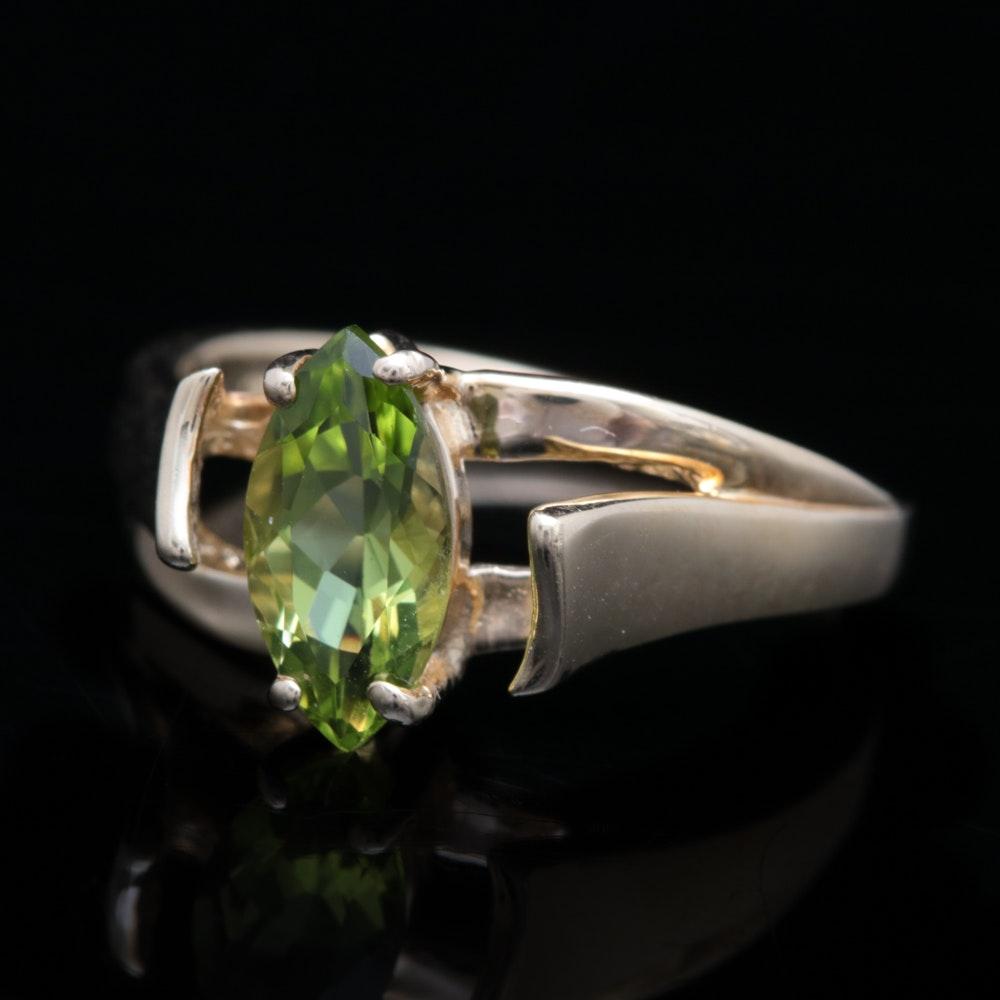 14K Yellow Gold and Peridot Ring