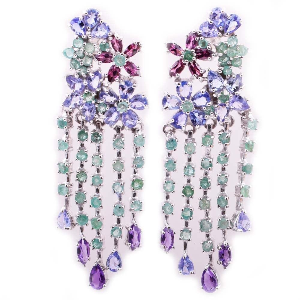 Sterling Silver and Multi-Gemstone Dangle Flower Earrings