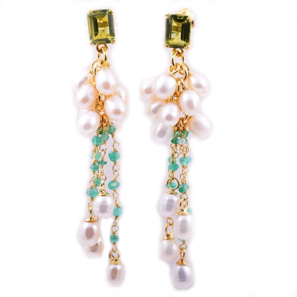 Gold Wash on Sterling Silver, Peridot, Emerald, and Freshwater Pearls Earrings