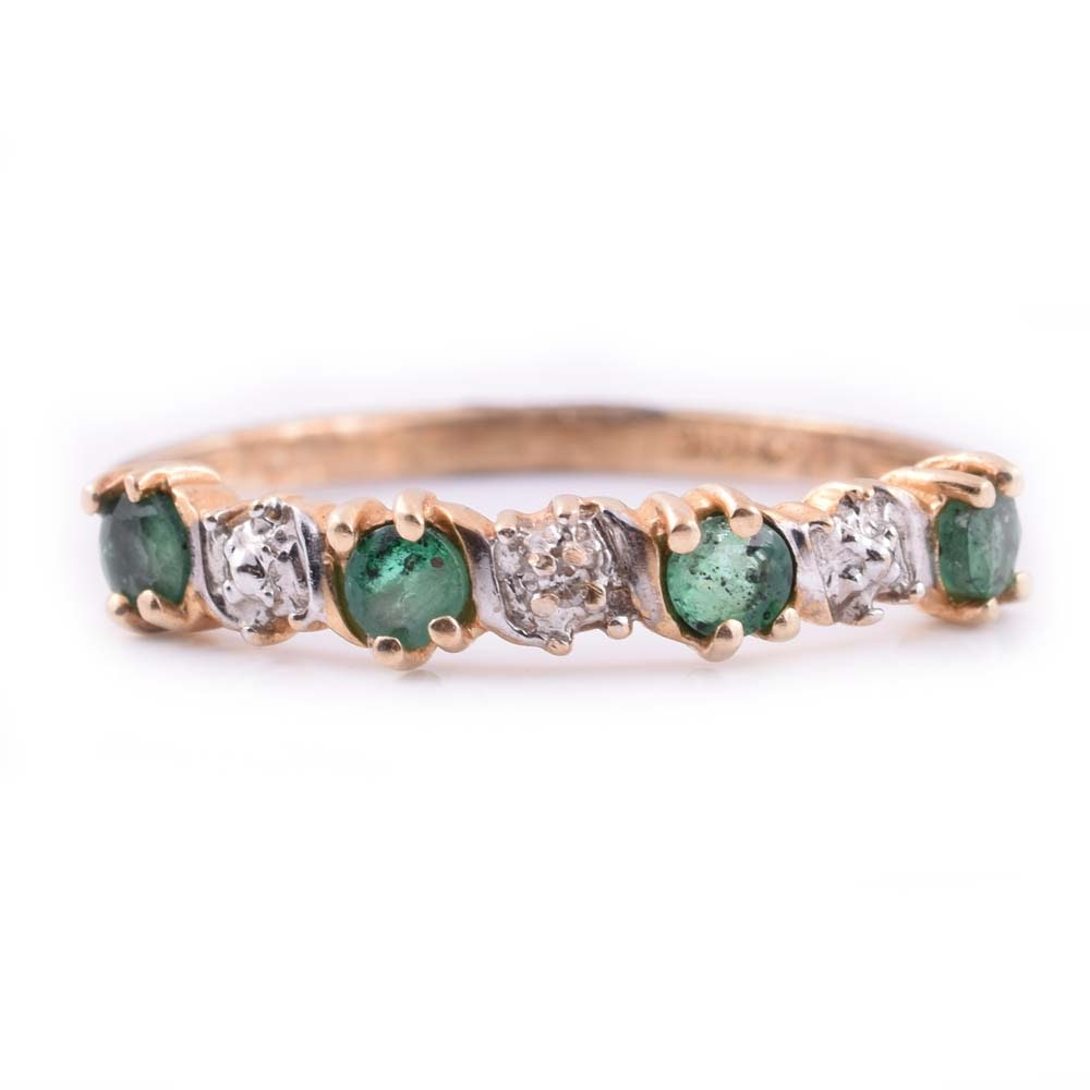 10K Yellow Gold, Emerald, and Diamond Ring