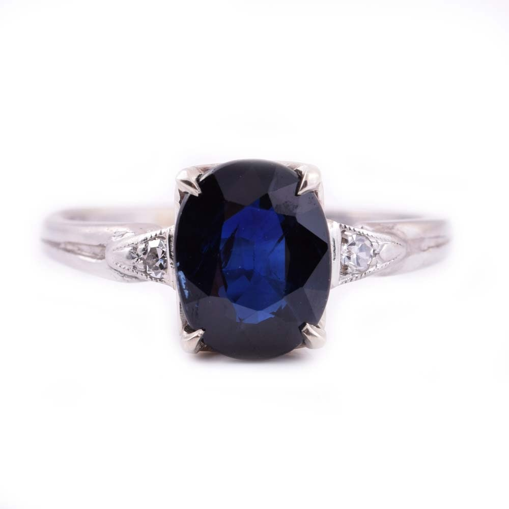 Platinum 2.09 CT Sapphire and Diamond Ring