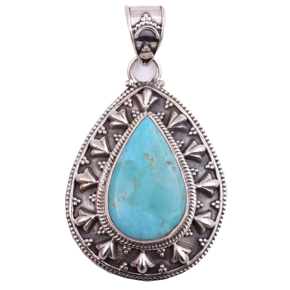 Sterling Silver and Turquoise Teardrop Pendant