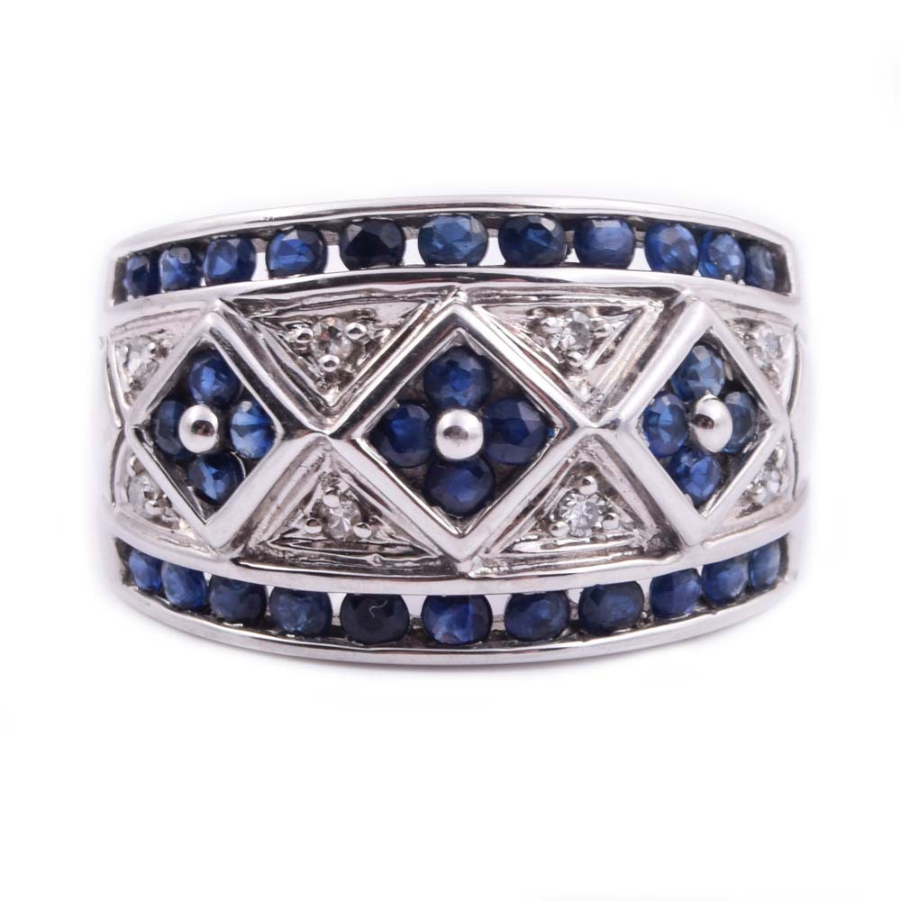 14K White Gold, Sapphire, and Diamond Ring