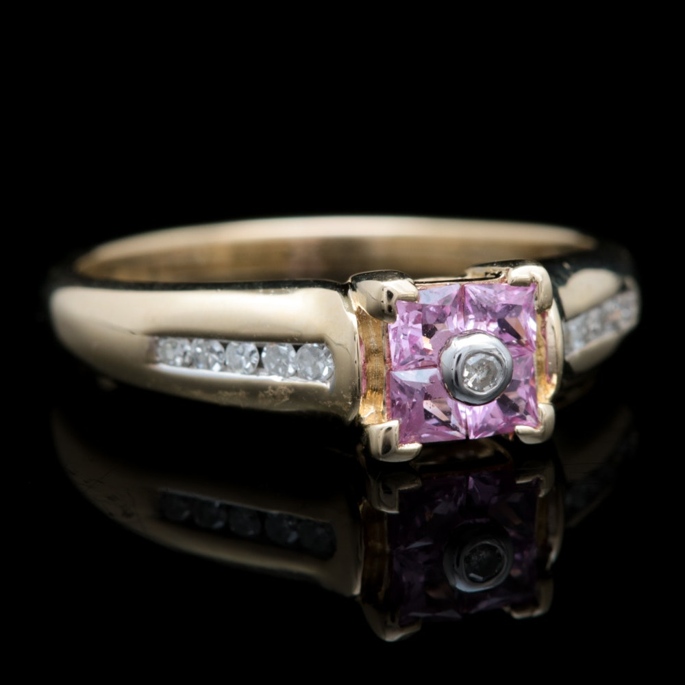 10K Yellow Gold, Pink Sapphire and Diamond Ring