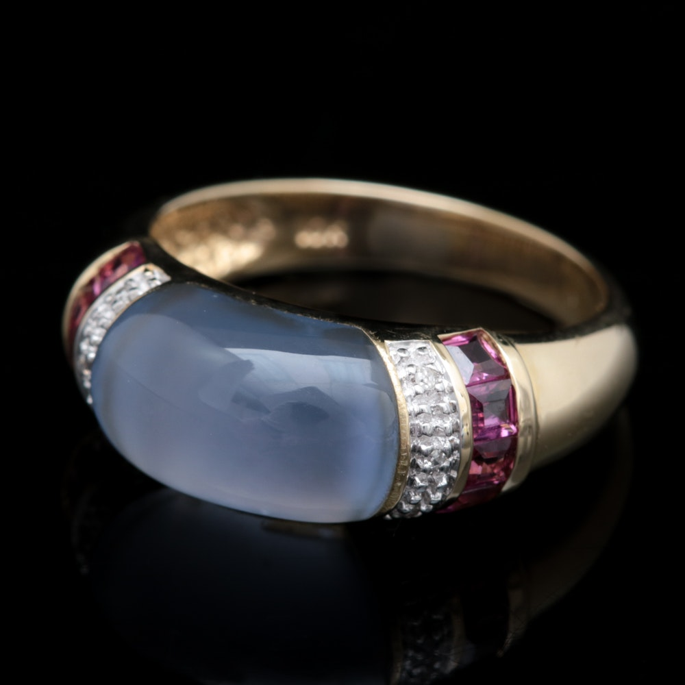 10K Yellow Gold, Chalcedony, Garnet and Diamond Ring