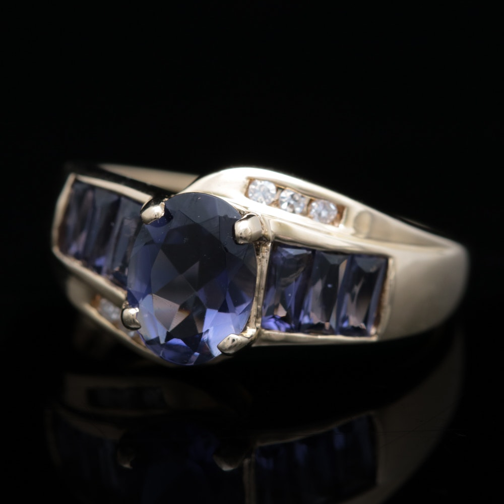 10K Yellow Gold, Iolite and Diamond Ring