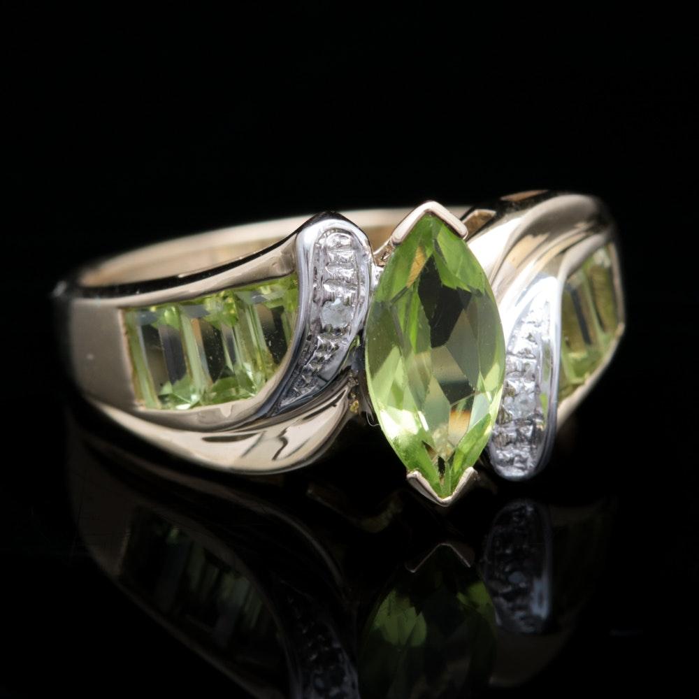 10K Yellow Gold, Peridot and Diamond Ring
