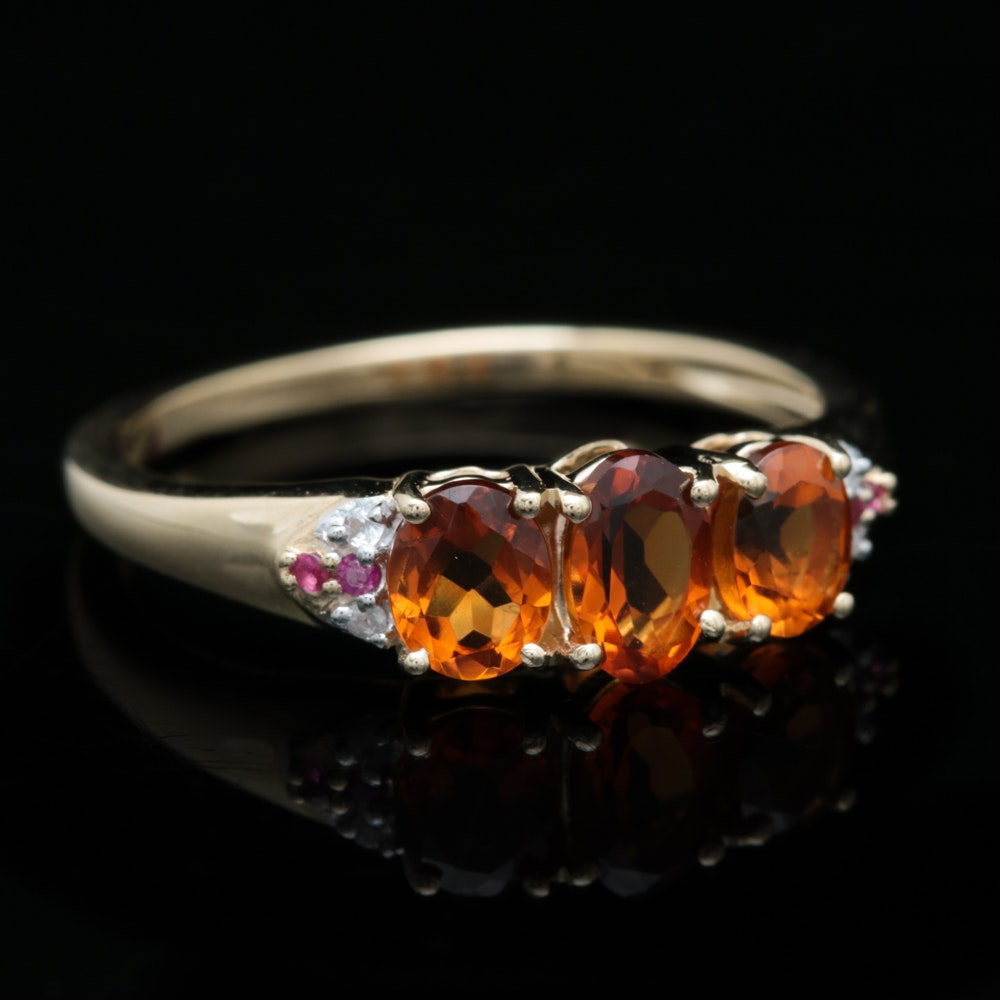 10K Yellow Gold, Citrine, White Sapphire and Ruby Ring