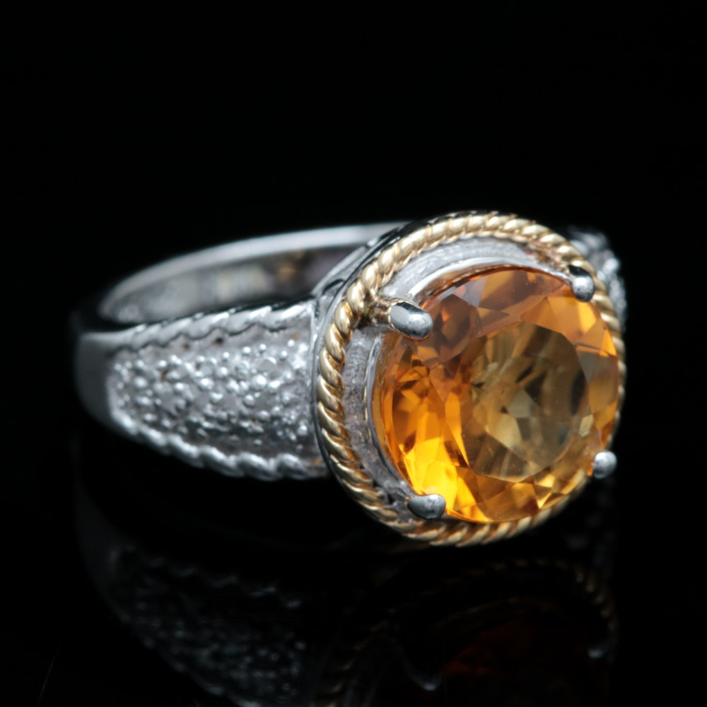 Sterling Silver, 14K Yellow Gold, Citrine and Diamond Ring