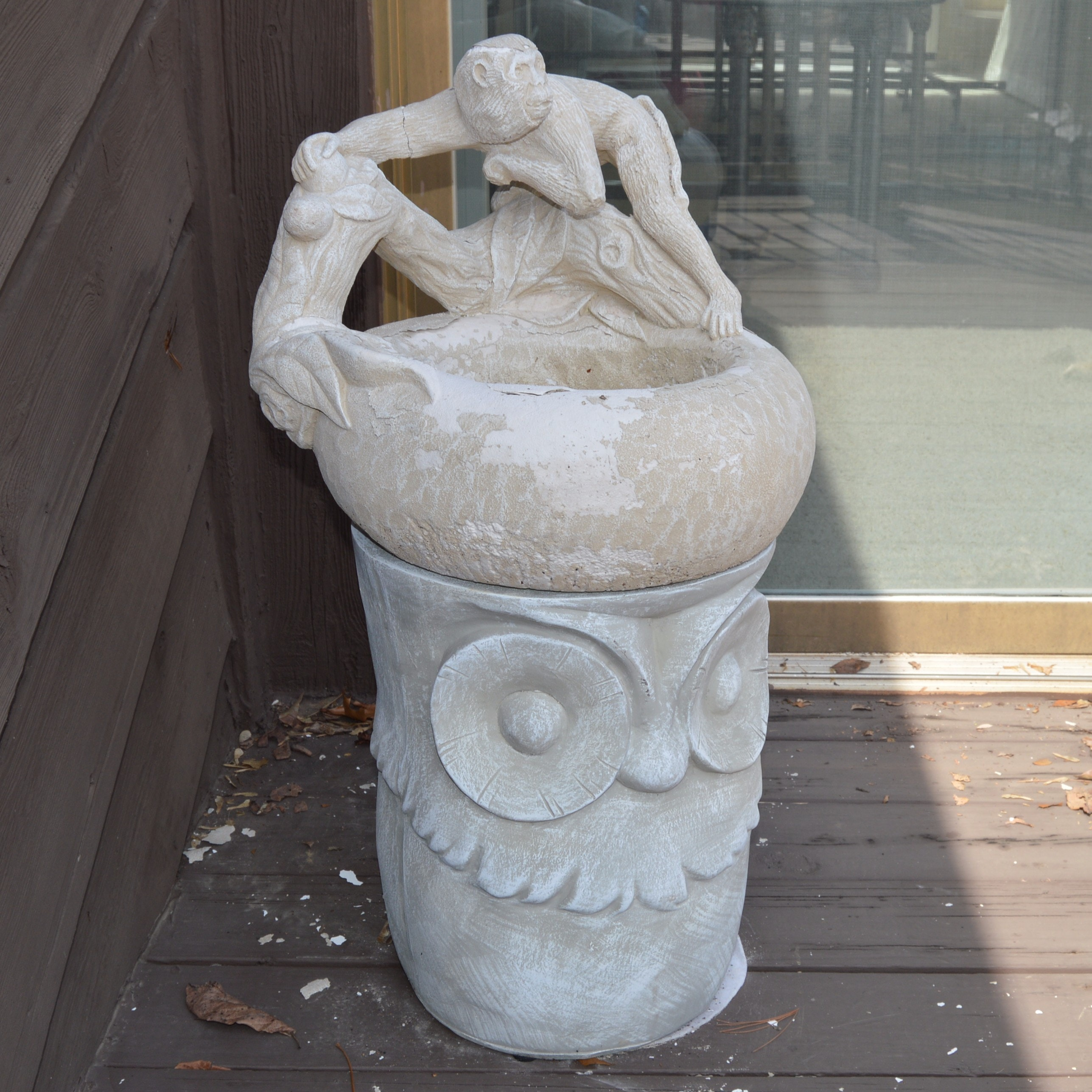 Faux Cement Owl Pedestal and Cement Birdbath with Monkey on a Branch