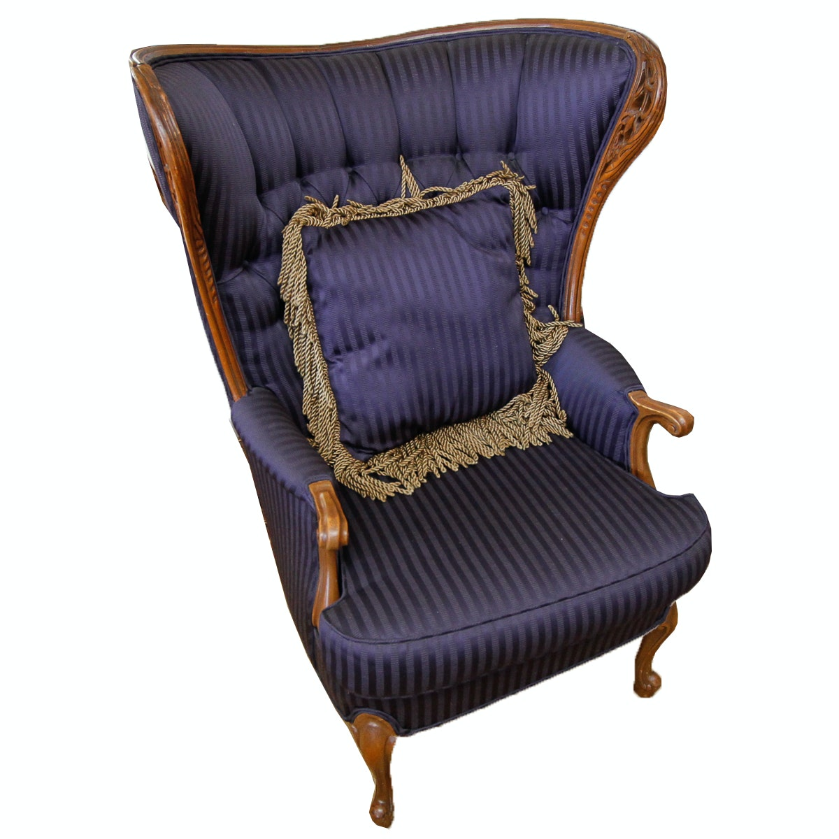 Vintage Louis XV Style Upholstered Wingback Chair