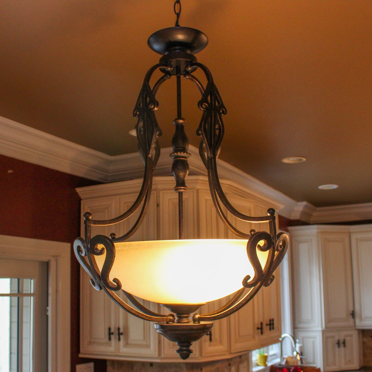 Contemporary Iron and Glass Chandelier