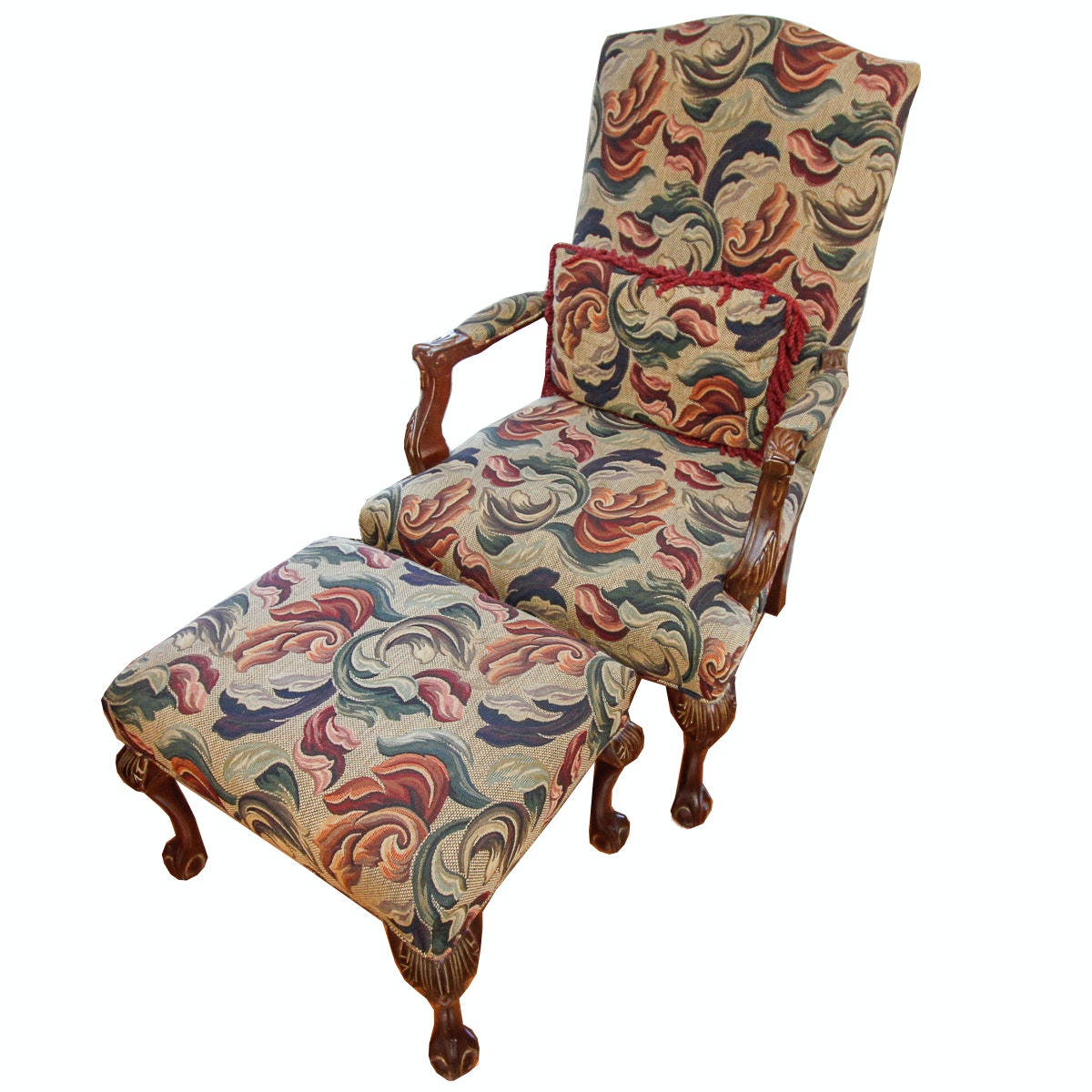 Vintage Queen Anne Style Upholstered Armchair with Ottoman
