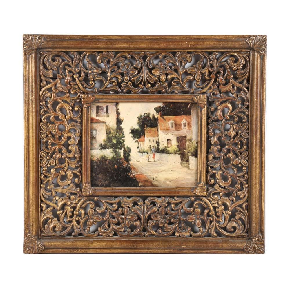 Framed Embellished Landscape Offset Lithograph