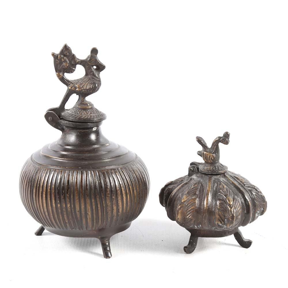 Pair of Cast Bronze Ink Wells
