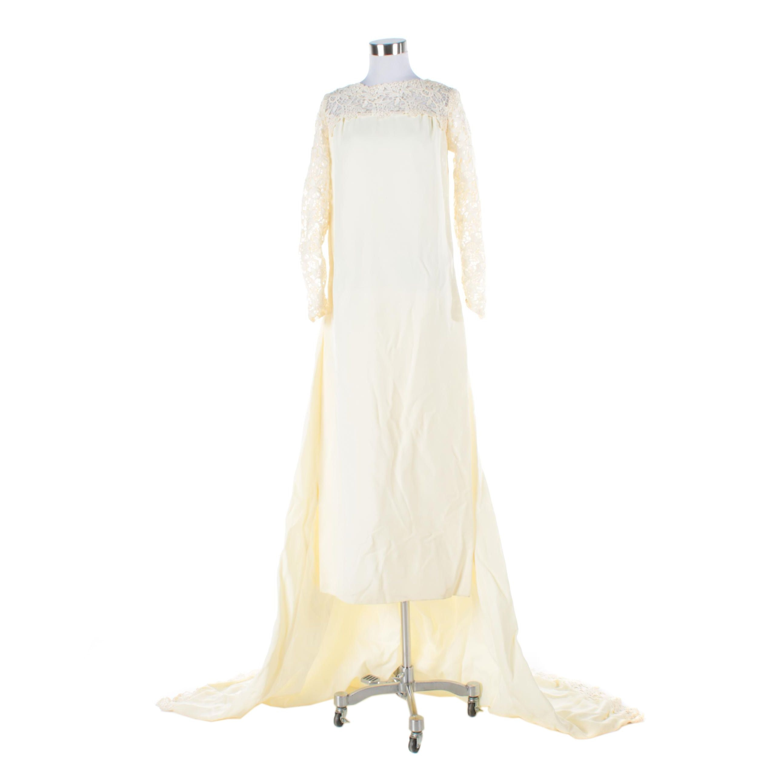 Circa 1960s Vintage, Limited Edition Wedding Dress with Detachable Train
